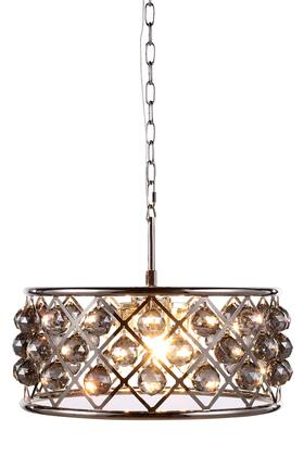 1214D20PN-SS/RC 1214 Madison Collection Pendant Lamp D: 20in H: 9in Lt: 5 Polished Nickel Finish Royal Cut Silver Shade
