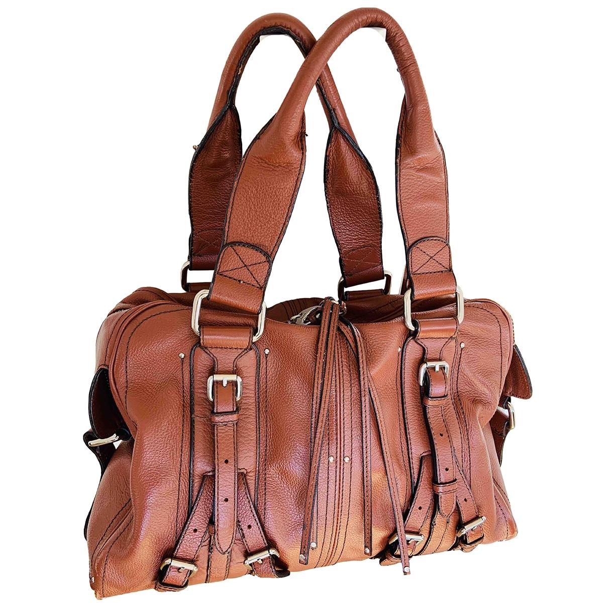 Mango \N Handtasche in  Braun Leder