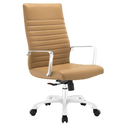 Finesse Collection EEI-1061-TAN Office Chair with 360 Degree Swivel  High Backrest  Adjustable Height  Polished Aluminum Frame and Ribbed Vinyl