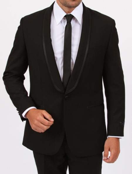 1 Button Slim Fit Center Vent Black Tuxedo