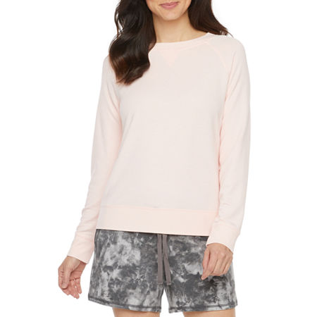 Ambrielle Womens French Terry Pajama Top Round Neck, Large , Pink