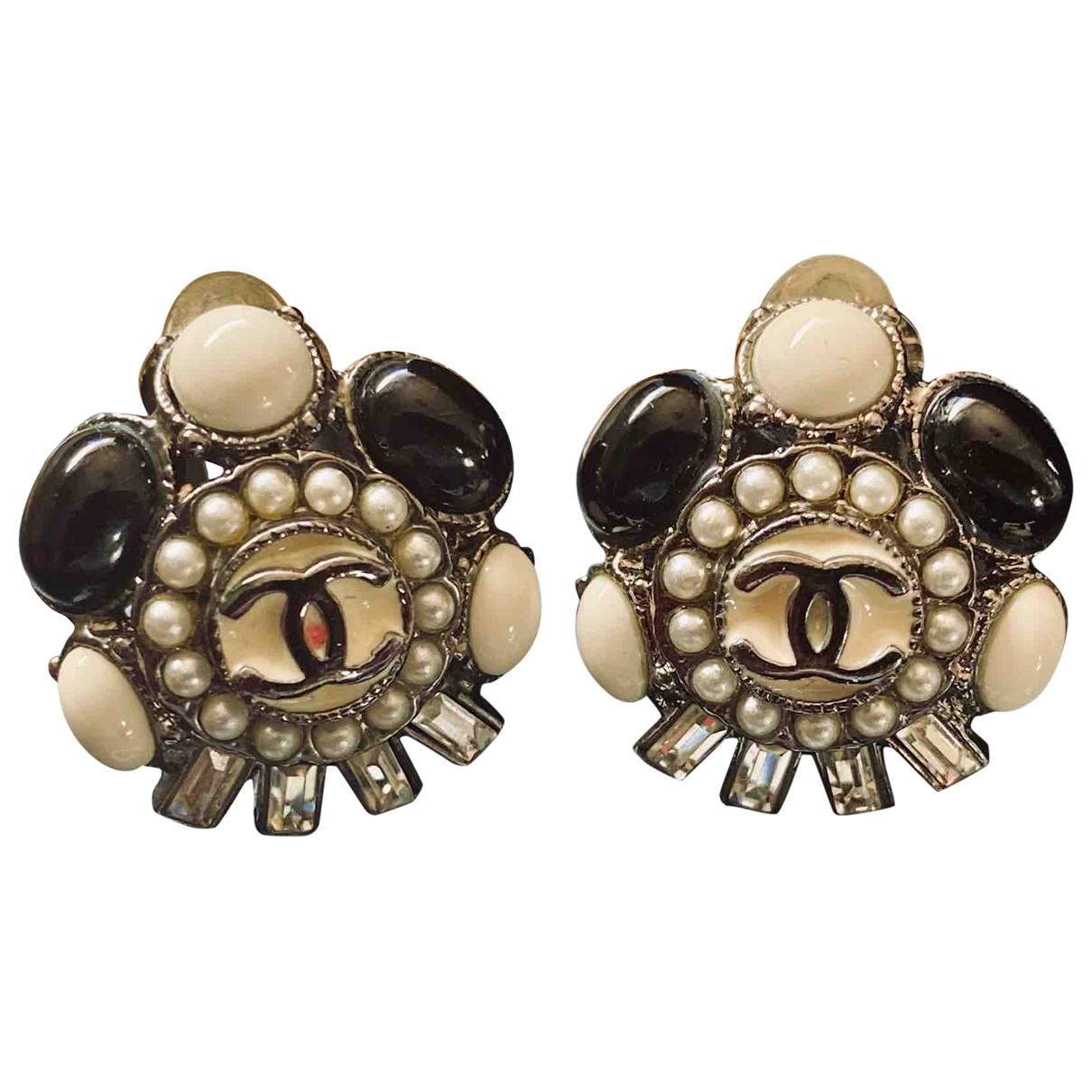 Chanel Camélia Black Ceramic Earrings for Women \N