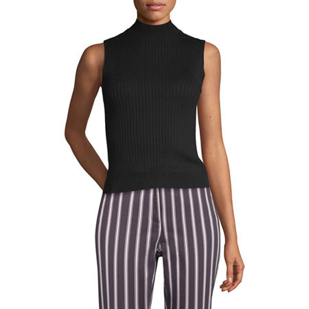 Worthington Womens Mock Sweater - Tall, Medium Tall , Black