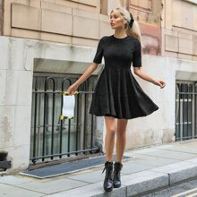 Seam Front Solid Dress