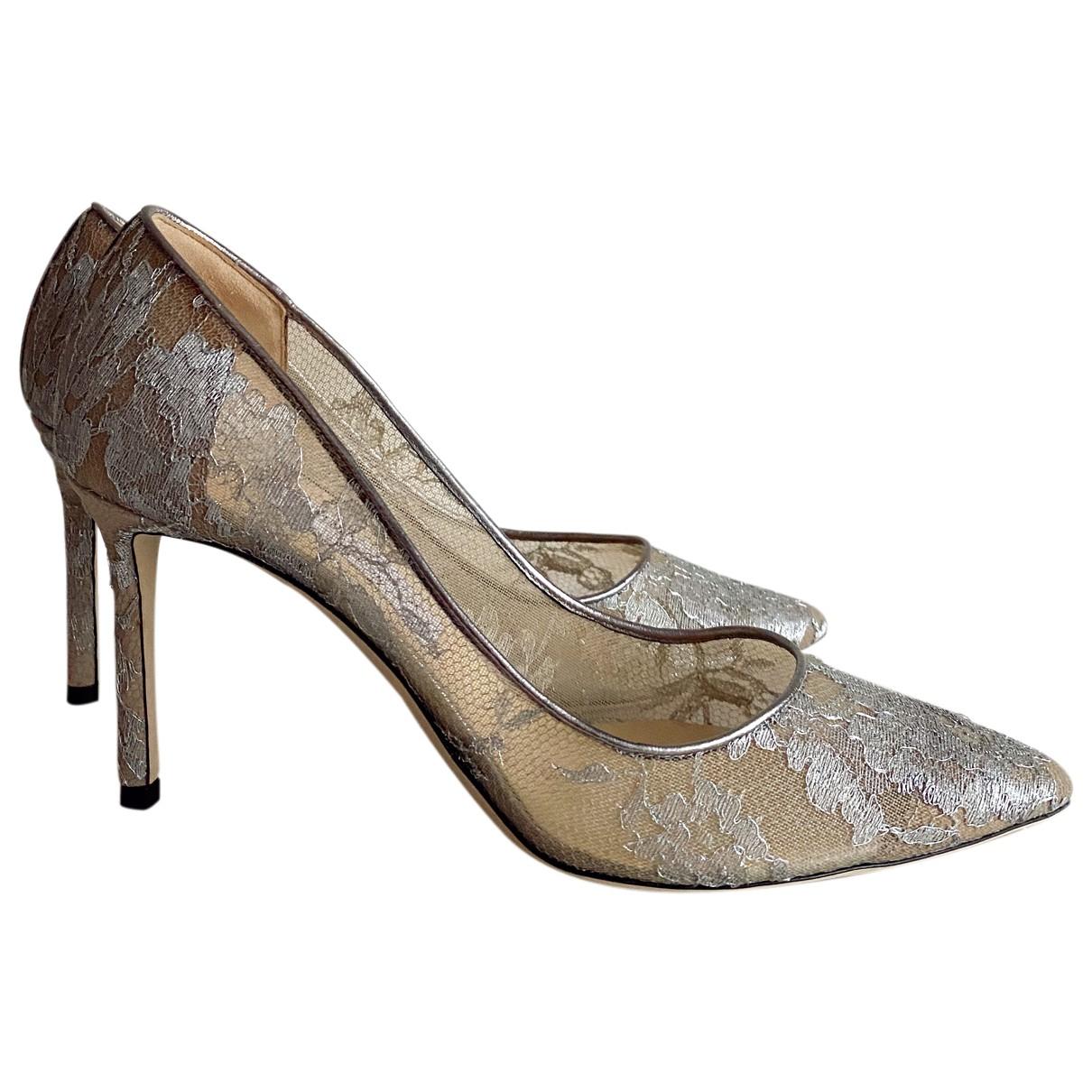Jimmy Choo Romy Silver Cloth Heels for Women 40 EU