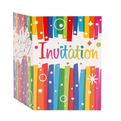 Rainbow Ribbons Birthday Invitations, 8ct Pour la fête d'anniversaire