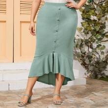 Plus Covered Button Up Rib-knit Mermaid Skirt