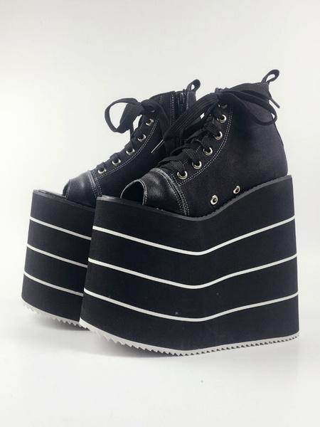 Milanoo Black Lolita Shoes Open Toe Platform Geometric Heel Lace Up Canvas Lolita Shoes