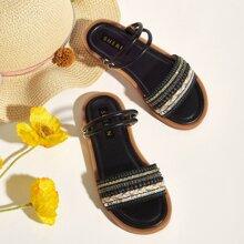 Toddler Girls Rhinestone & Sequin Decor Sandals