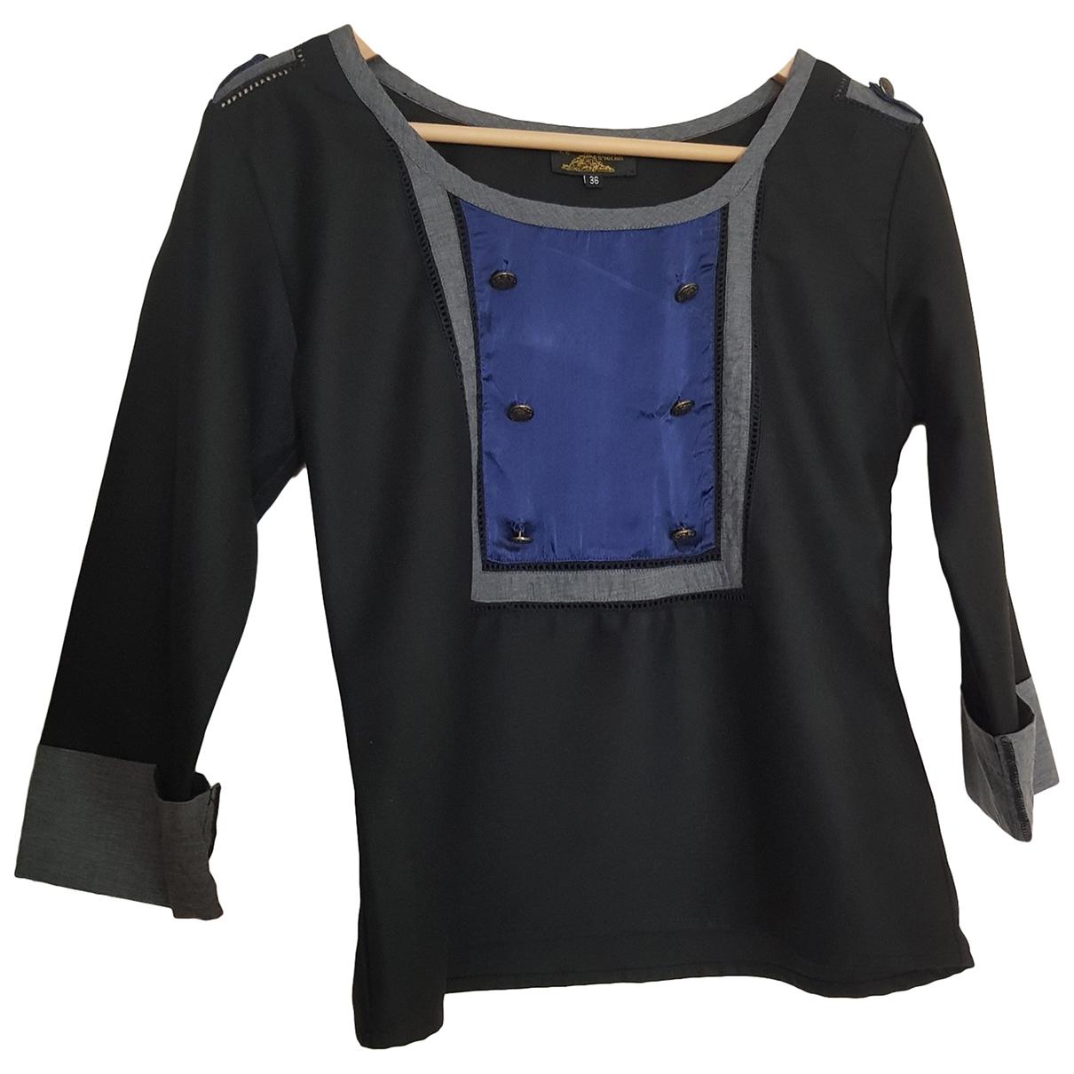 Le Mont Saint Michel - Top   pour femme en soie - noir