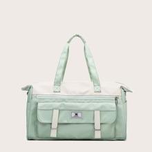 Color Block Large Capacity Duffel Bag