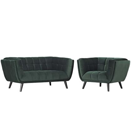 Bestow Collection EEI-2973-GRN-SET 2 PC Loveseat and Armchair Set with Dense Foam Padding  Non-Marking Foot Caps  Black Tapered Wood Legs and Velvet