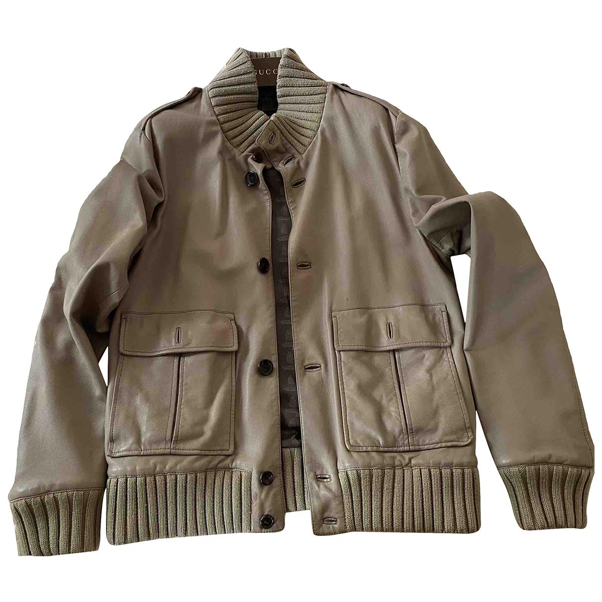 Gucci \N Beige Leather jacket  for Men 46 IT