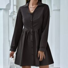 Button Front Solid Smock Dress