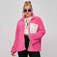Cazadora teddy de hombros caidos rosada neon