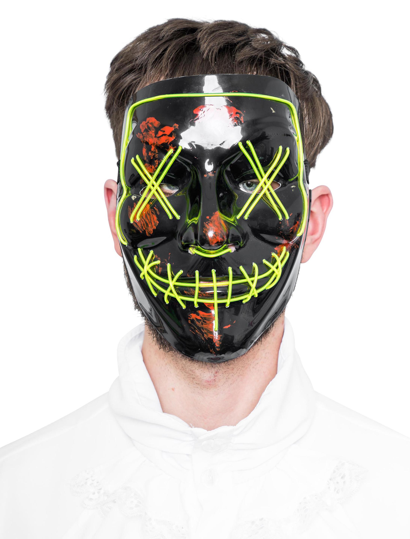 Kostuemzubehor LED Maske Anonym gruen/schwarz
