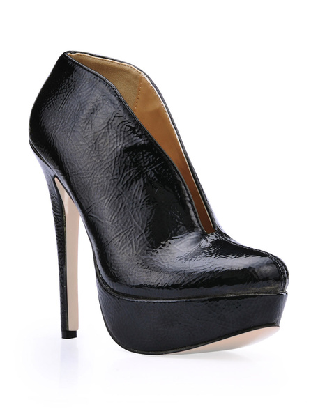 Milanoo Black Patent Platform Woman's High Heel Booties