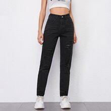Jeans mit hoher Taille, Riss und 5 Taschen