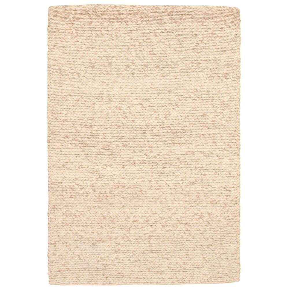 ECARPETGALLERY  Braid weave Sienna Ivory Wool Rug - 5'3 x 7'7 (Ivory - 5'3 x 7'7)