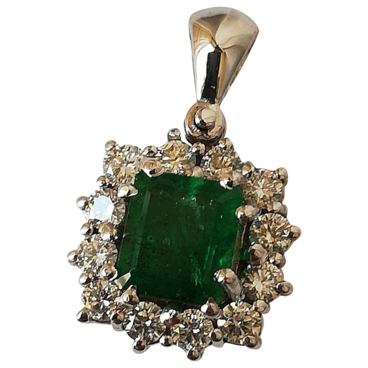 - Pendentif Emeraude pour femme en or blanc - vert