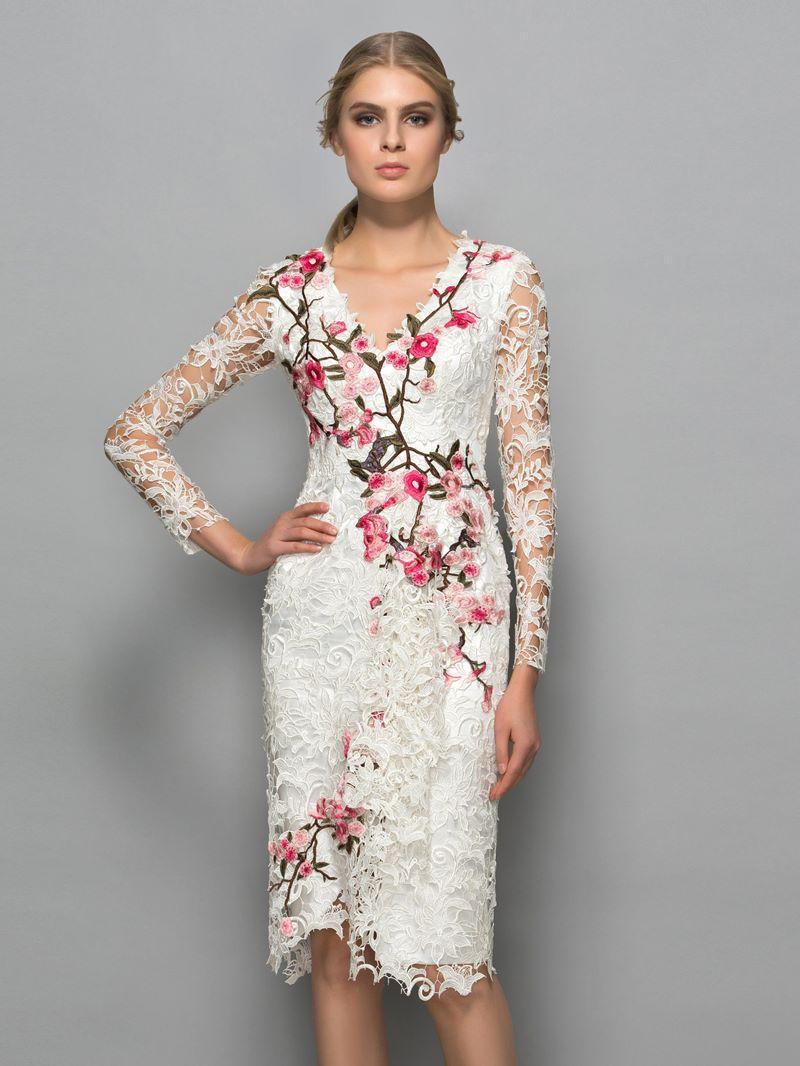 Ericdress V-Neck Appliques Long Sleeves Column Cocktail Dress