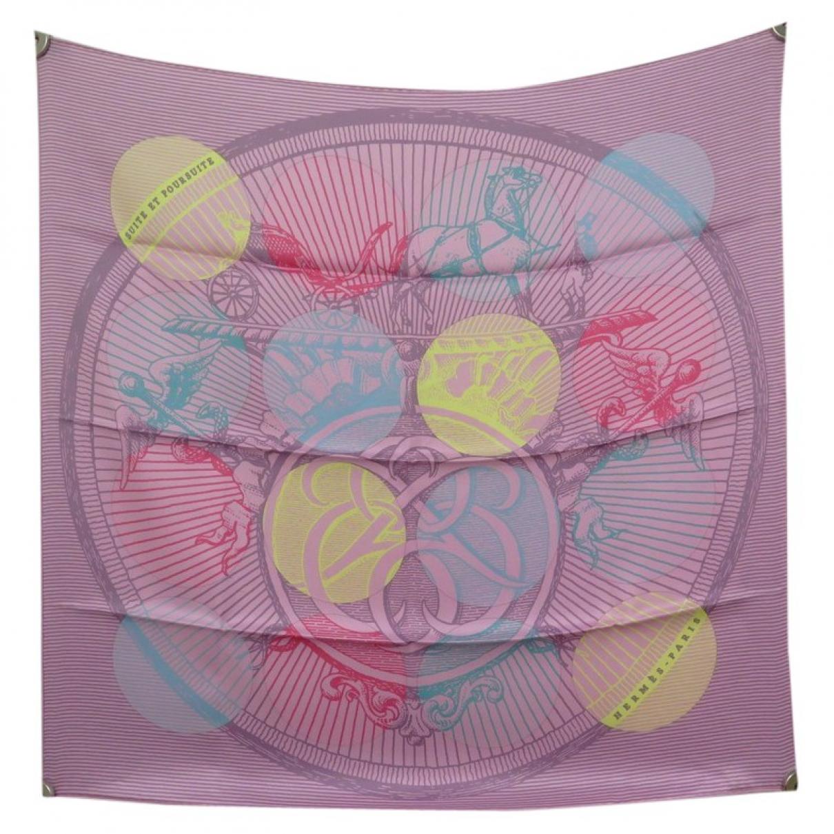 Hermes - Carre Carre 70 pour femme en soie - rose