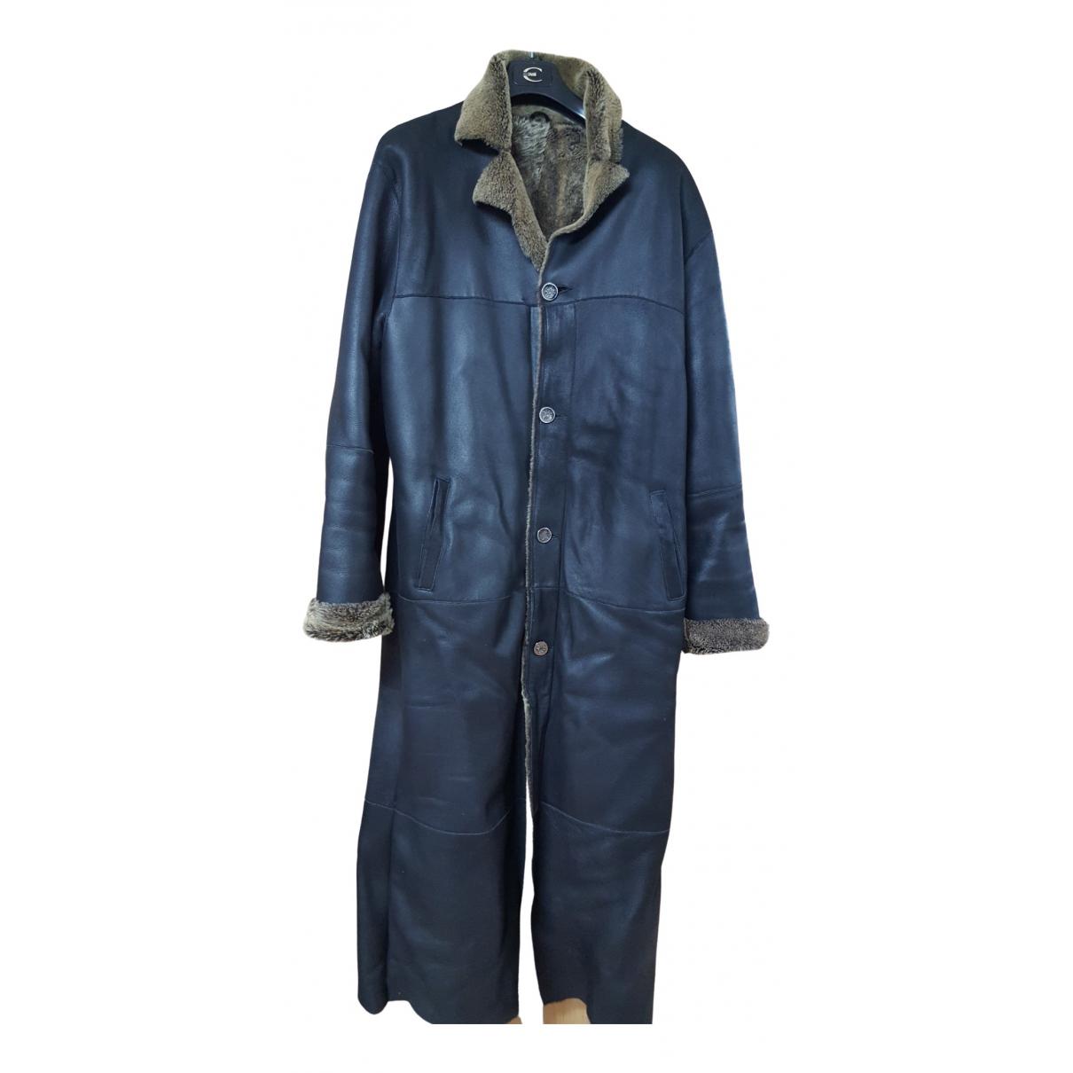 Gianfranco Ferre - Manteau   pour homme en cuir - noir