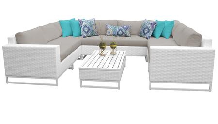 Miami MIAMI-09c-BEIGE 9-Piece Wicker Patio Furniture Set 09c with 2 Corner Chairs  4 Armless Chairs  1 Coffee Table  1 Left Arm Chair and 1 Right Arm