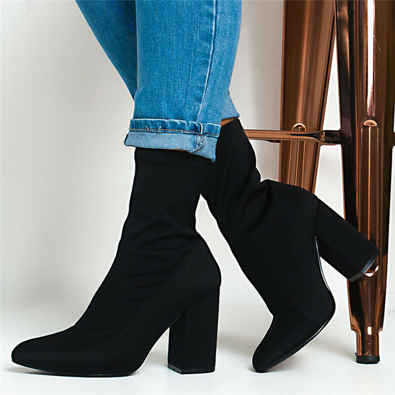 Women Fashion Pointed Toe Black Solid Color CHunky Heel Sock Boots