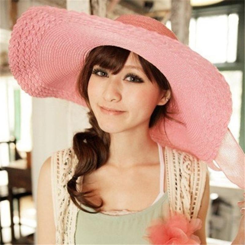 Ericdress Bowknot Beach Pure Color Sun Hat