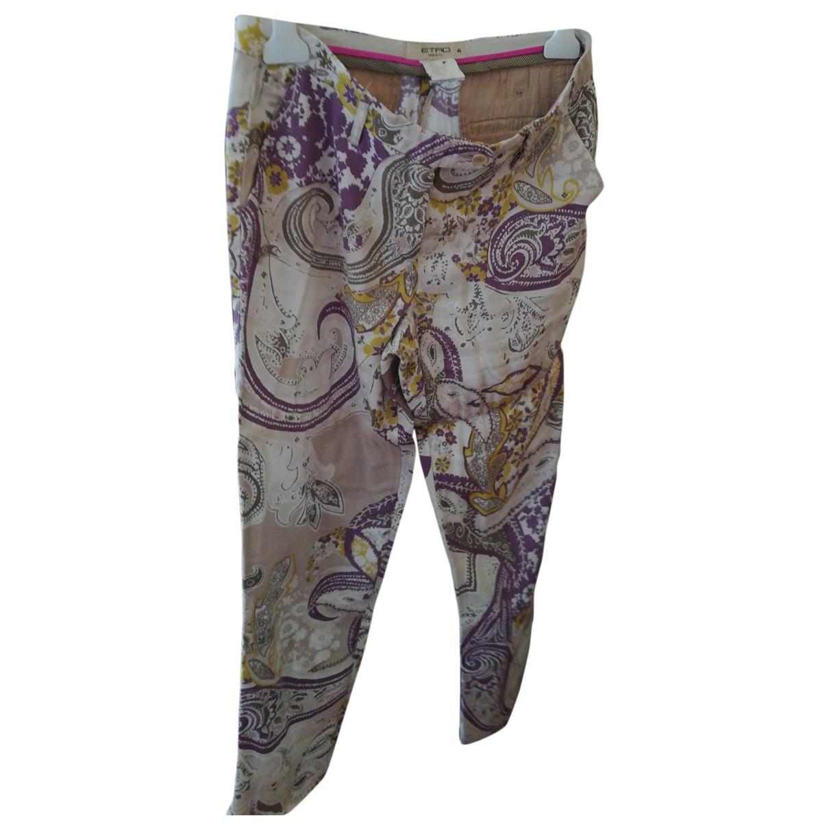 Etro \N Purple Linen Trousers for Women 42 IT