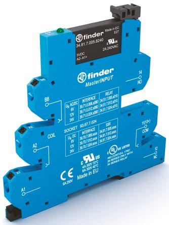 Finder 2 A SPNO Interface Relay Module, DC, DIN Rail, PLC, 24 V dc Maximum Load