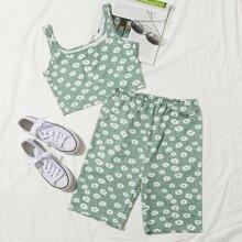 Floral Print Tank Top & Shorts Set