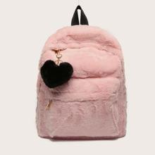 Heart Decor Pocket Front Fluffy Backpack