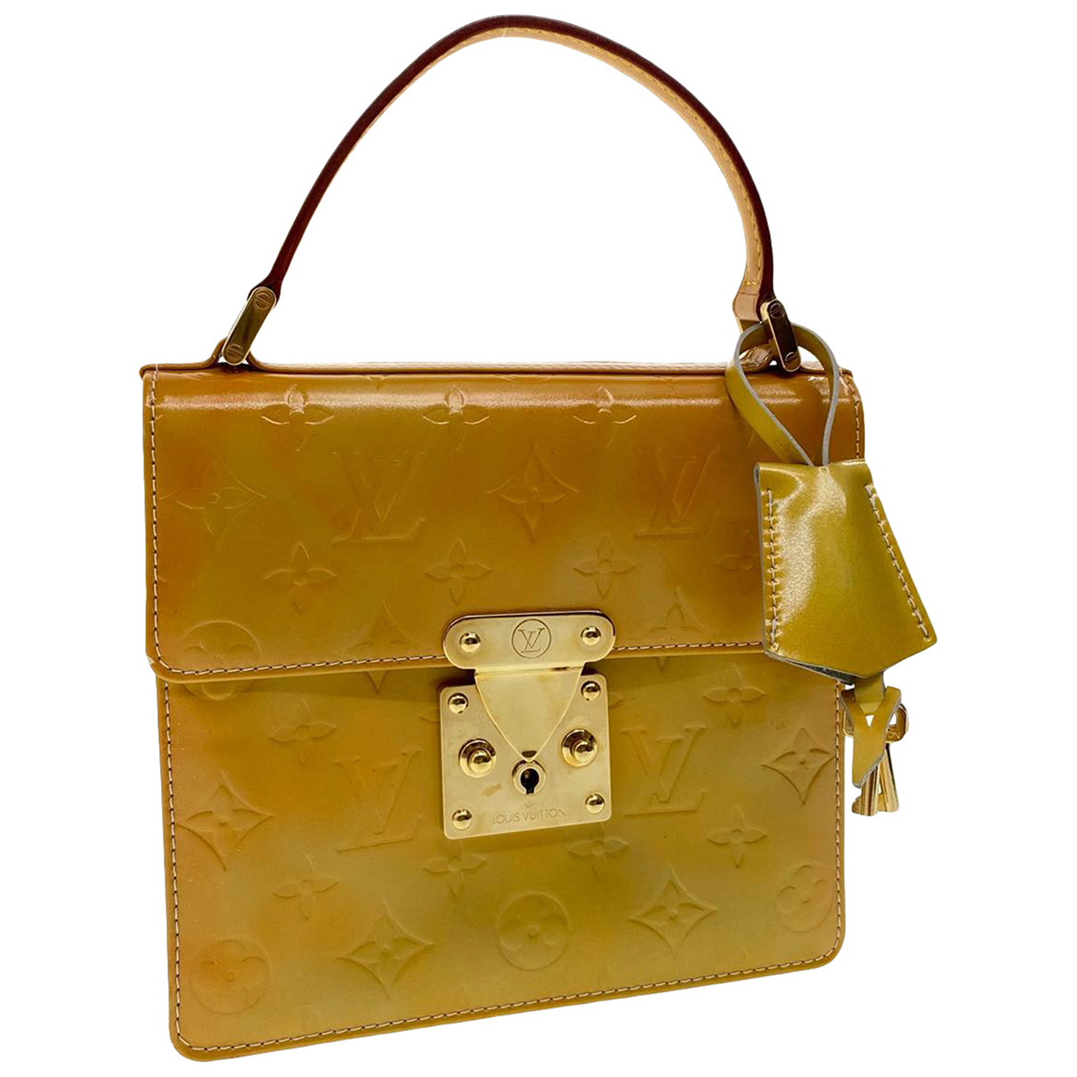 Louis Vuitton Spring street Khaki Patent leather handbag for Women \N