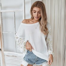 Swiss Dot Ditsy Floral Panel Sleeve Tee
