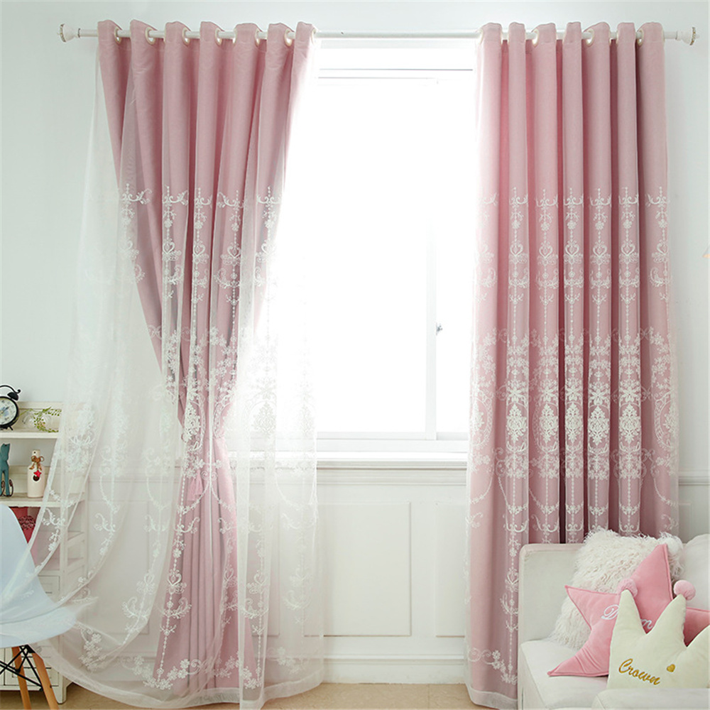 Solid Color Elegant Embroidered Ready Made Curtain Sets for Living Room