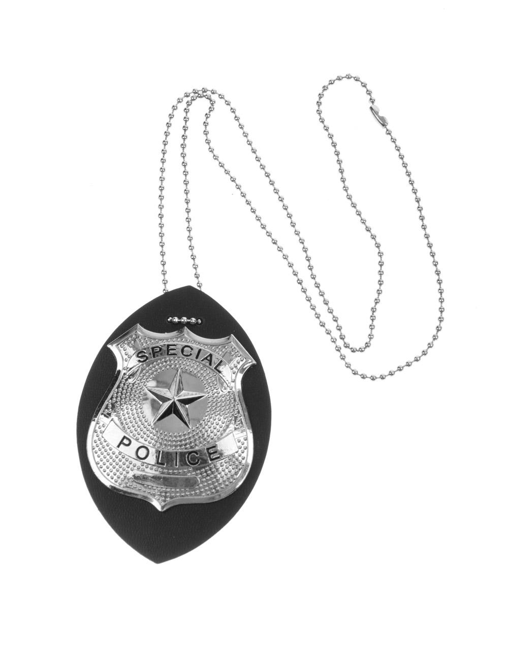 Kostuemzubehor Polizeimarke zum Umhaengen Farbe: schwarz/silber
