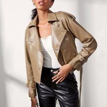 Double Breasted Buckle Belted PU Leather Moto Jacket
