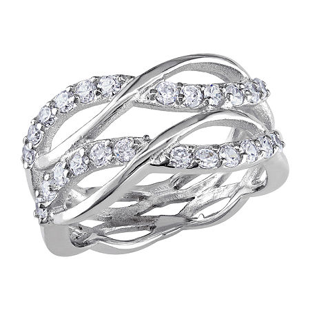 Womens 1 1/5 CT. T.W. White Cubic Zirconia Sterling Silver Crossover Cocktail Ring, 6 , No Color Family
