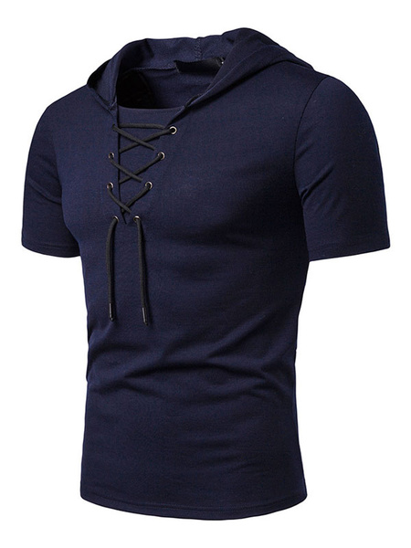 Milanoo Men Casual T Shirt Hooded Lace Up Slim Fit Short Sleeve T Shirt
