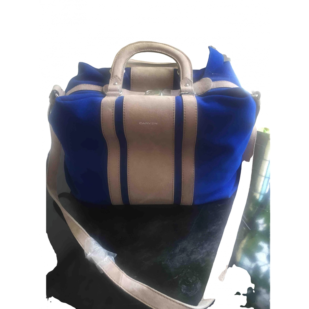 Bolso de mano en Ante Azul Carven