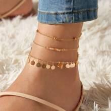 3pcs Beaded & Disc Charm Anklet