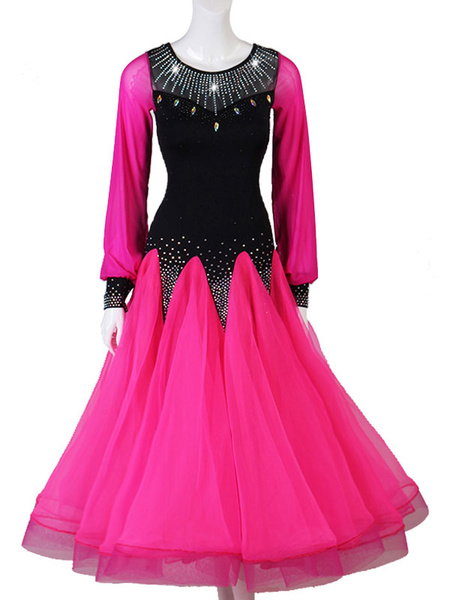Milanoo Disfraz Halloween Trajes de baile de salon Rhinestone Ruffle Rose Red Dress Vestido de baile de mujer Halloween