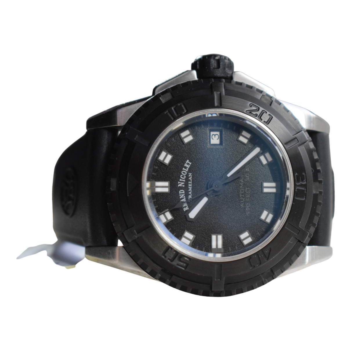 Non Signé / Unsigned N Black Steel watch for Men N
