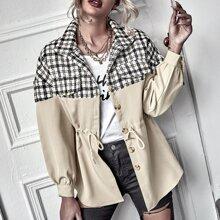 Mantel mit Karo Muster, Kordelzug auf Taille und Knopfen vorn