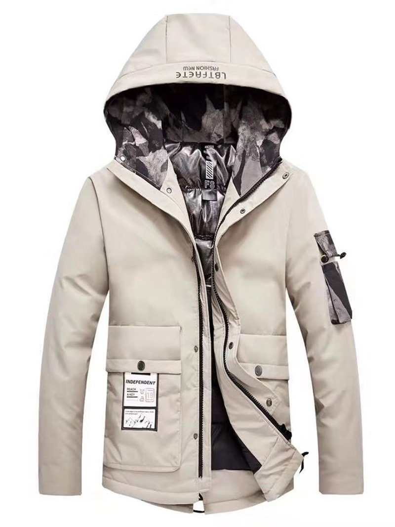 Ericdress Hooded Style Color Block Zipper Casual Men's Down Jacket