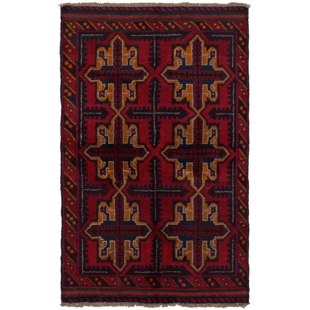 ECARPETGALLERY Hand-knotted Teimani Red Wool Rug - 3'5 x 6'2 (Red - 3'5 x 6'2)