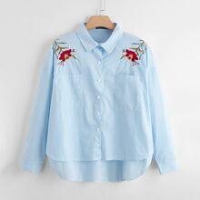 Blusas Extra Grandes Bordado Floral Casual