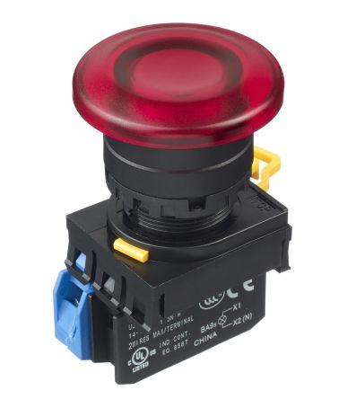 Idec , YW Illuminated Red Mushroom Push Button Complete Unit, NO, 22mm Maintained Screw